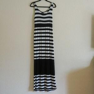 Seven7 Navy Blue & White Striped Maxi